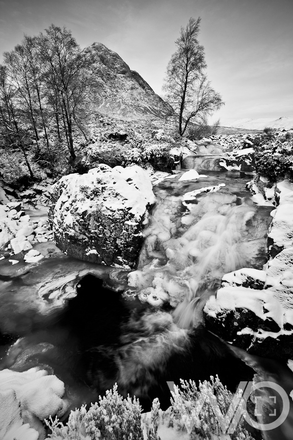 Buachaille Etive Mor Frozen Waterfall Black and White