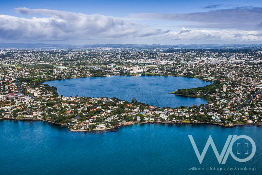 Lake Pupuke aerial photo
