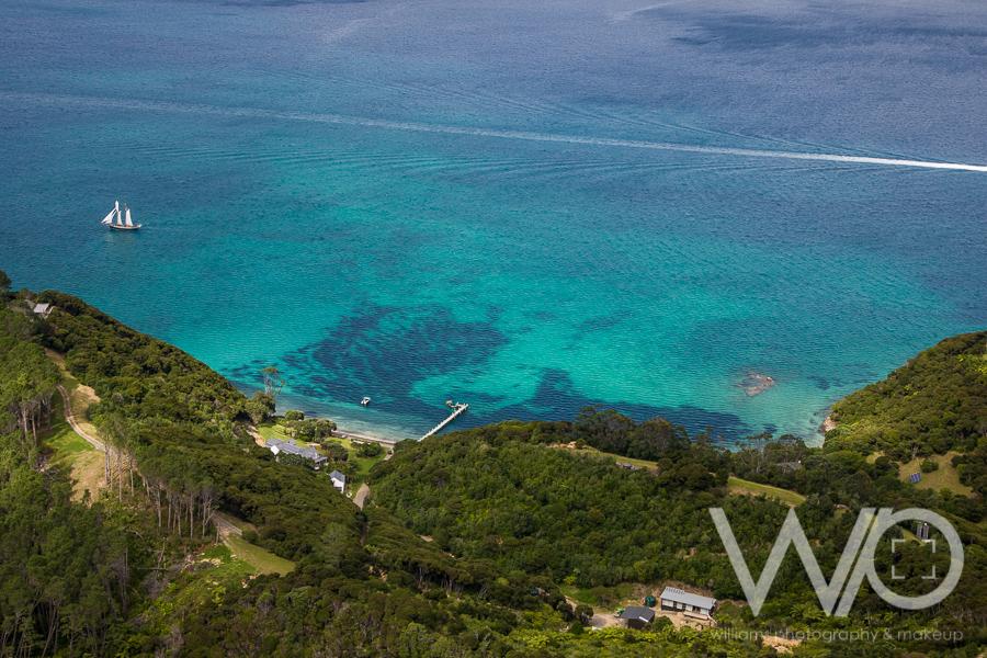 Motuarohia Island aerial photo sail boat