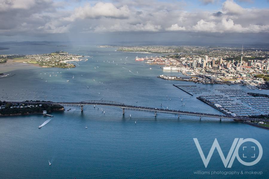 Auckland Harbour Bridge aerial photo