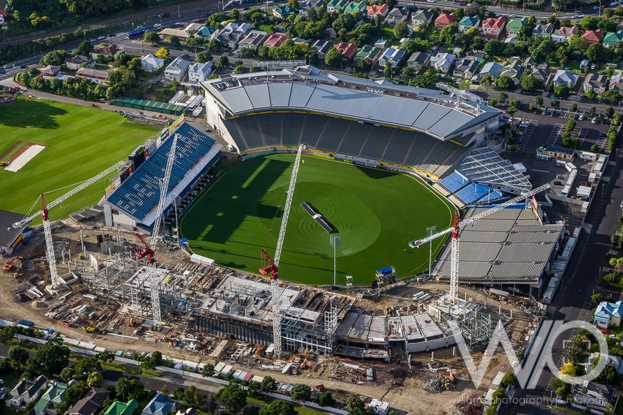 Eden Park during construction for World Cup aerial photo